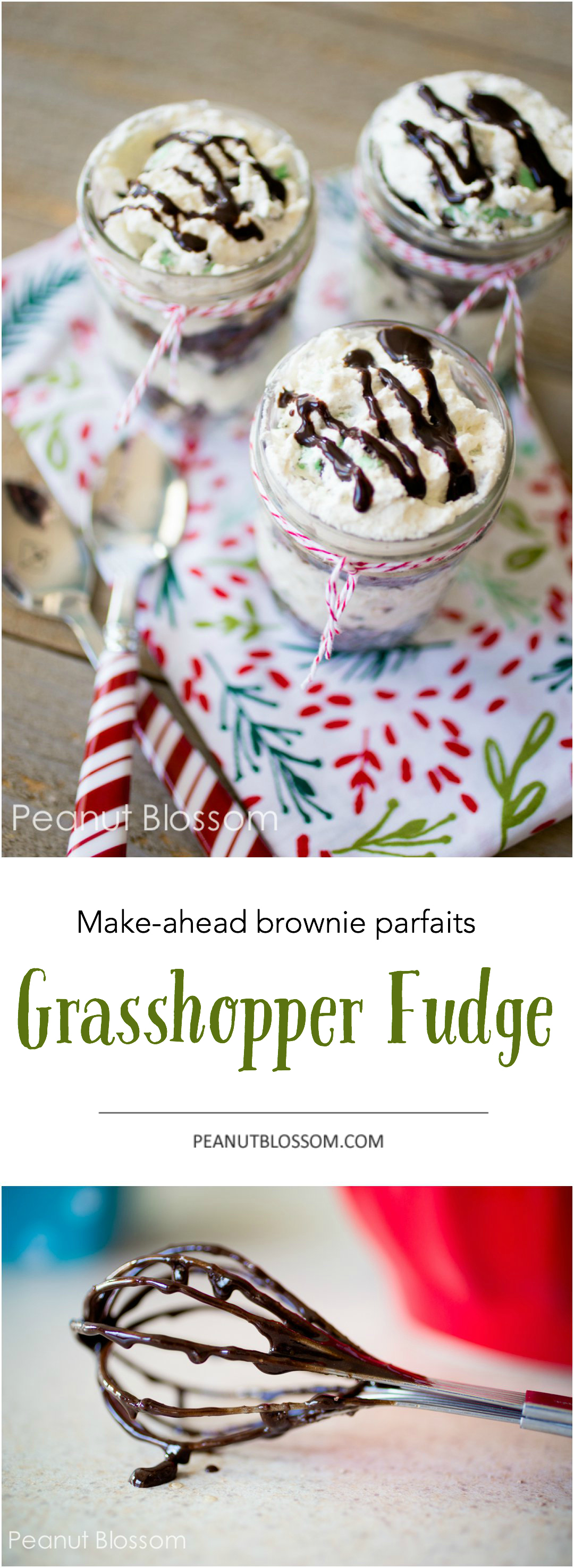 Make-ahead grasshopper fudge parfaits