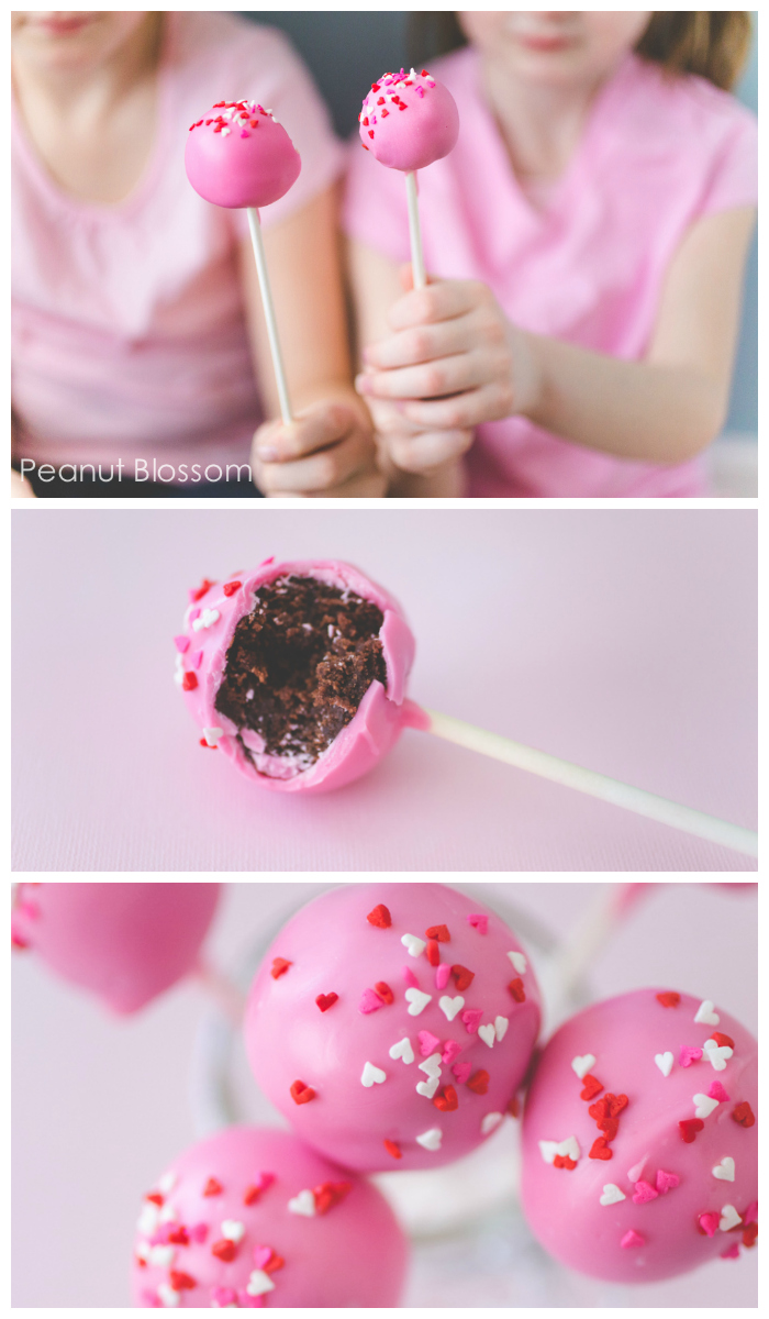 Rich chocolate brownie filling covered in pretty pink candy coating makes the cutest brownie pops for Valentine's Day!