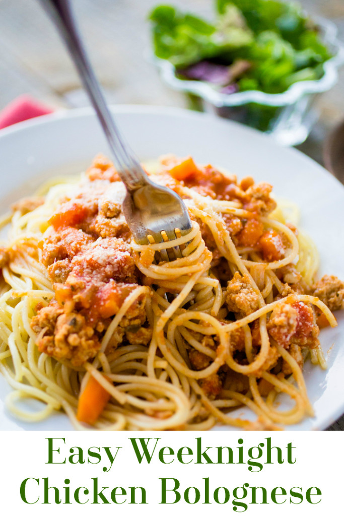 Easy bolognese sauce lightened with chicken and Barilla® marinara