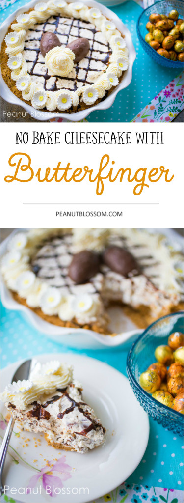Easy no bake cheesecake with Butterfingers