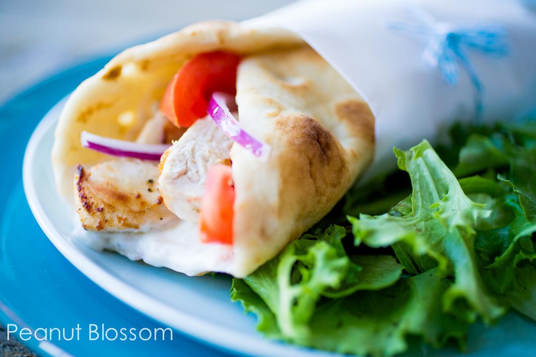 Creamy chicken gyro pita wrap & salad