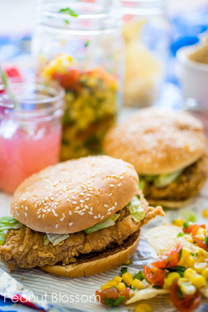 The perfect picnic: spicy chicken sandwich and chunky corn salsa