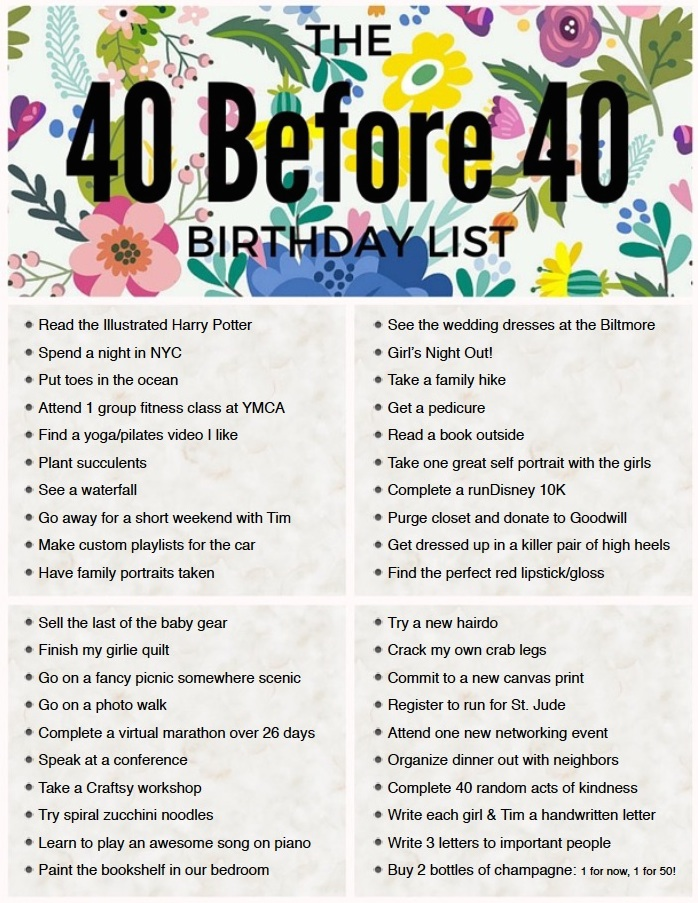 Peanut Blossom's 40 Before 40 list