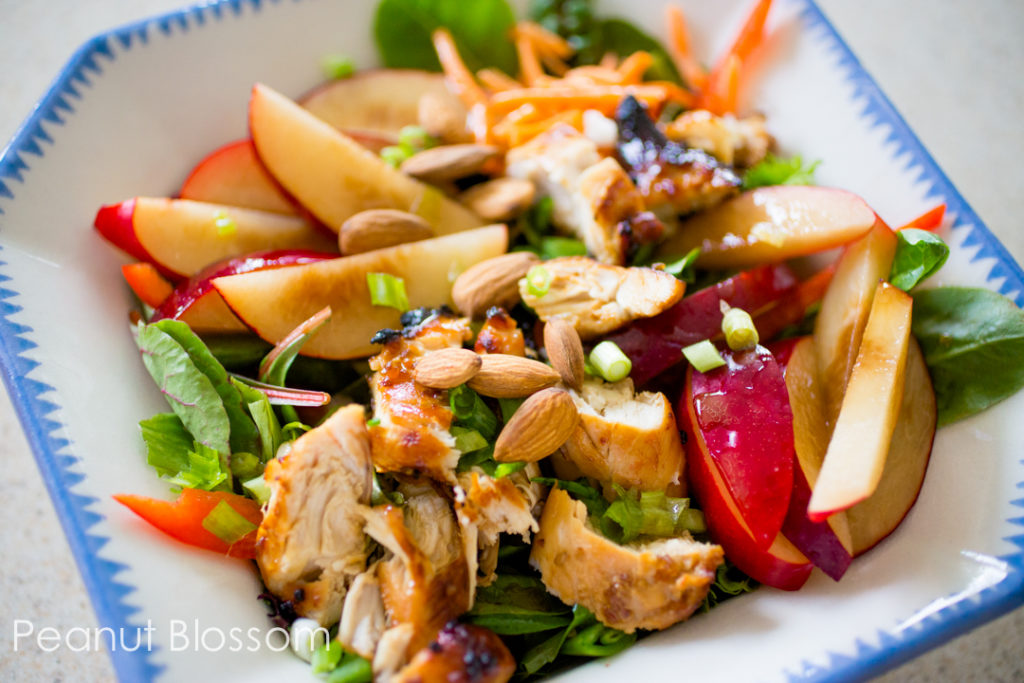 Asian chicken salad with plums and almonds