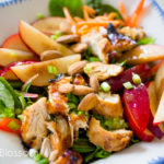 Asian vinaigrette for chicken salad with plums and almonds