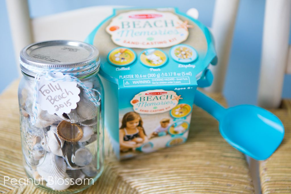 Sea shells and sand craft kit for remembering your family beach vacation