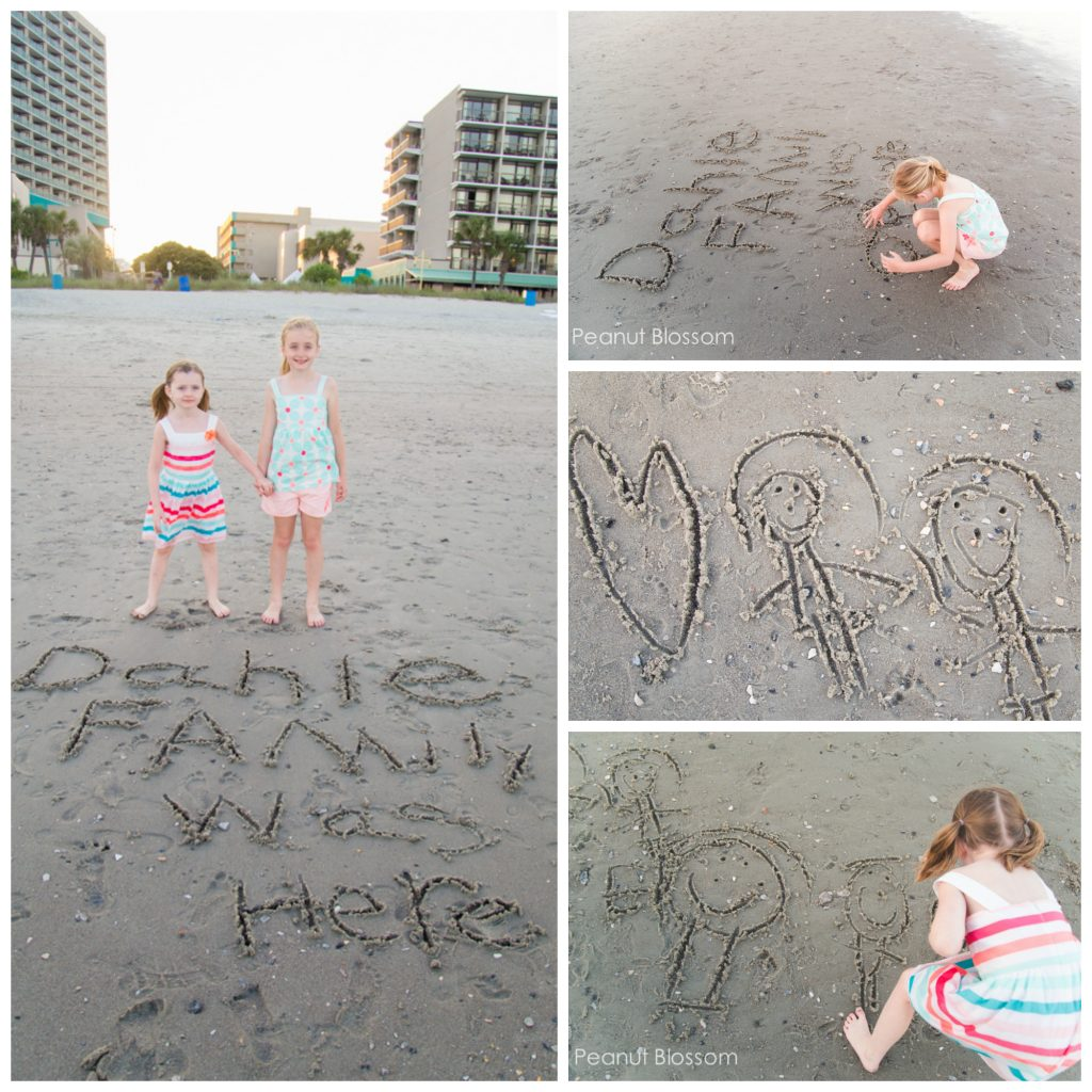Kids writing their names in the sand for adorable beach family photos