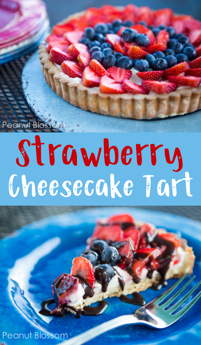 Hooray for the USA! This super simple strawberry cream cheese tart has a sugar cookie-style crust and fresh berries. So perfect for your 4th of July or Memorial Day party.