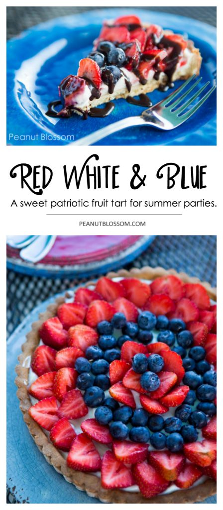 Red white and blue strawberry cream cheese tart