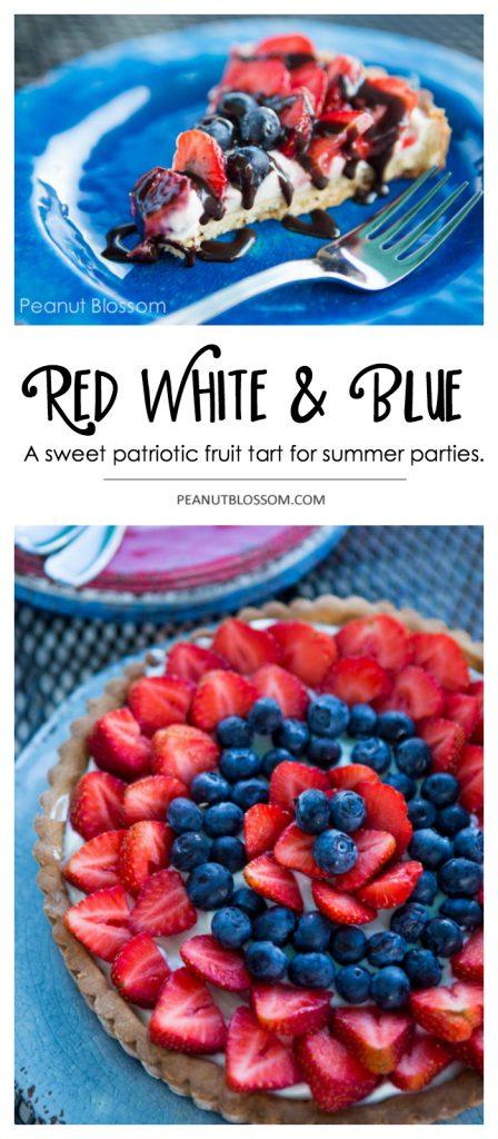 Red white and blue strawberry cream cheese tart