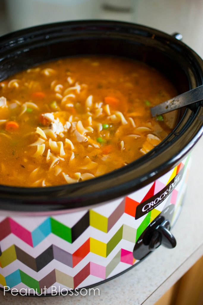 Super easy crockpot chicken soup is made with fresh veggies and chicken but has plenty of easy cooking short cuts.