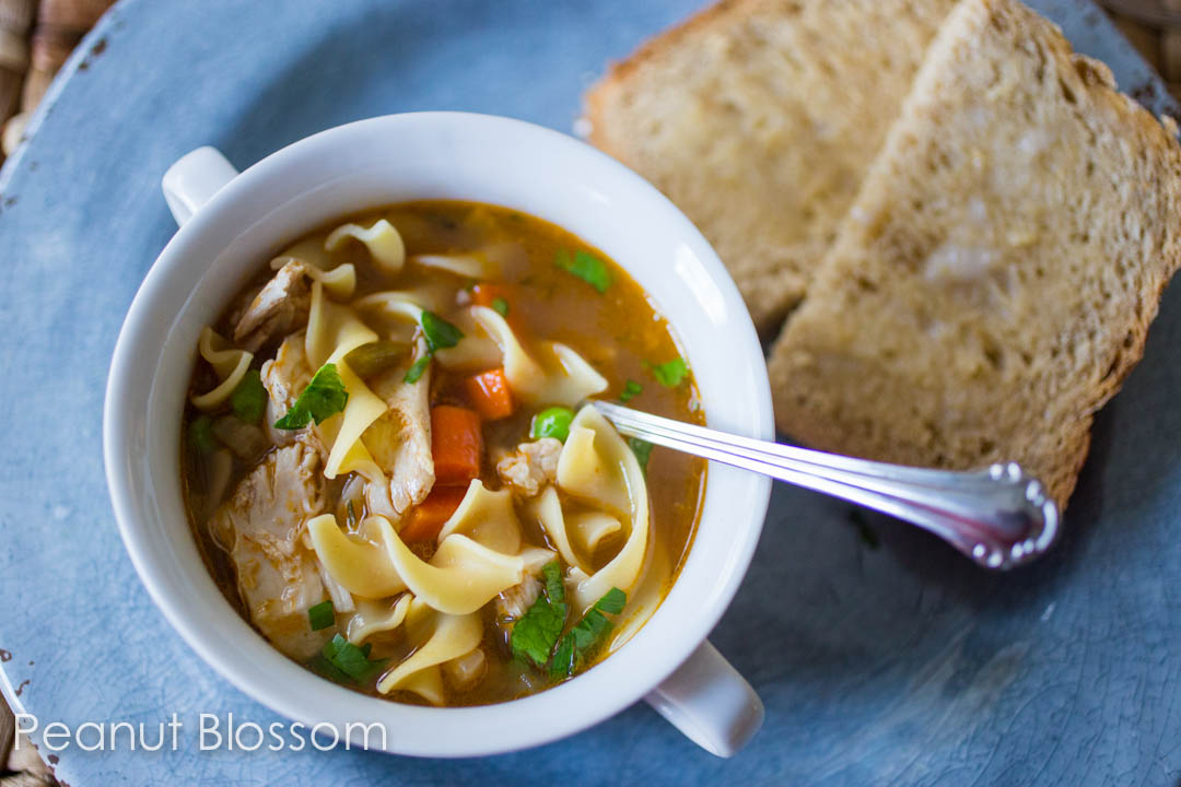 Crockpot chicken soup with spiced applesauce oat bread
