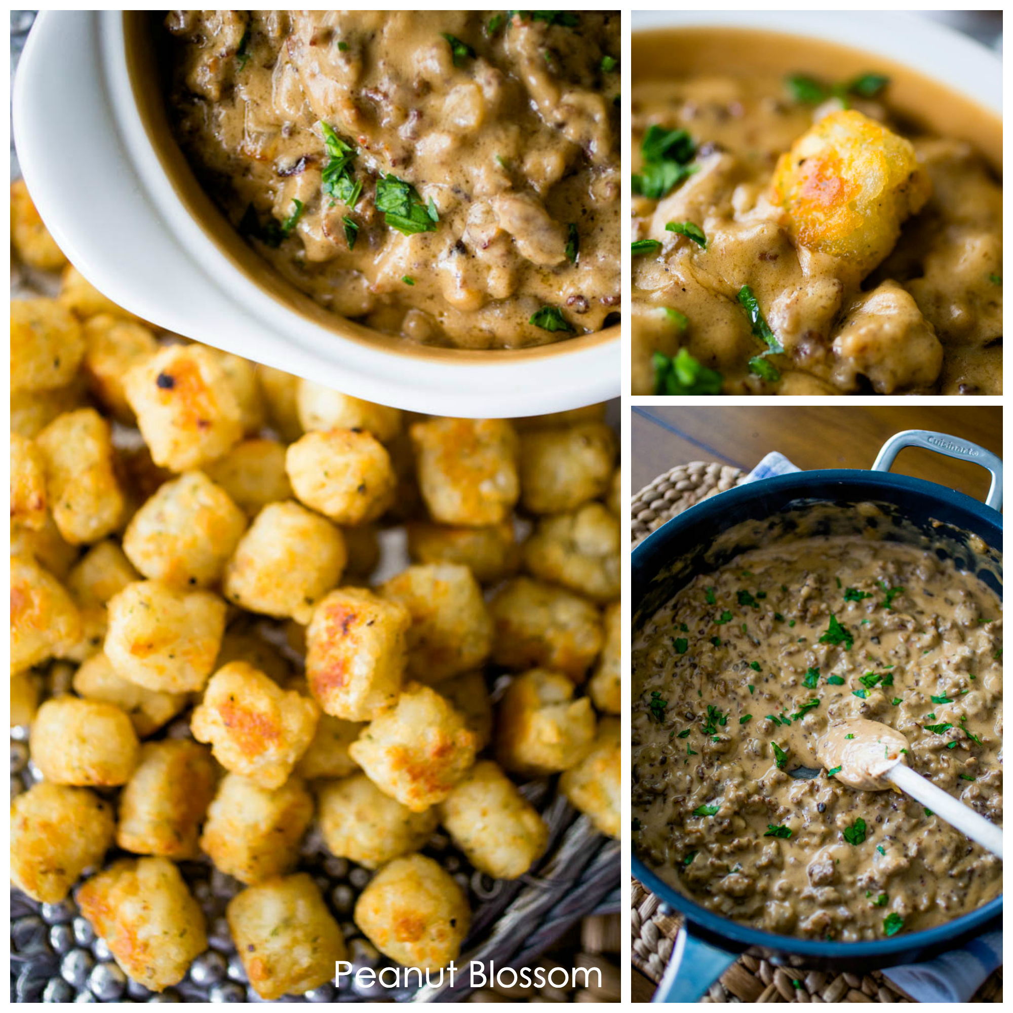 Serve Swedish Meatball Sausage Dip with crispy seasoned tater tot dunkers