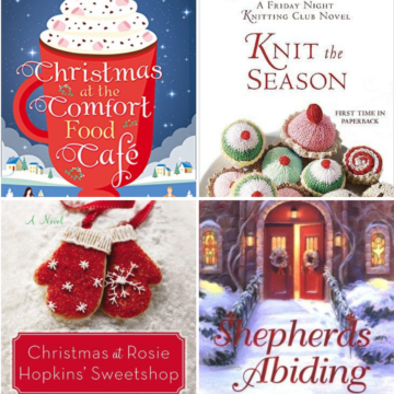 A photo collage of cozy christmas book club books.
