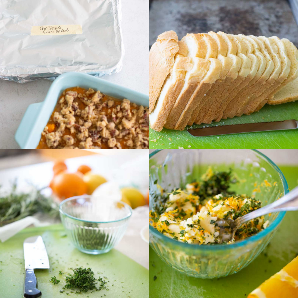 A photo collage of several make ahead tricks for Thanksgiving recipes.