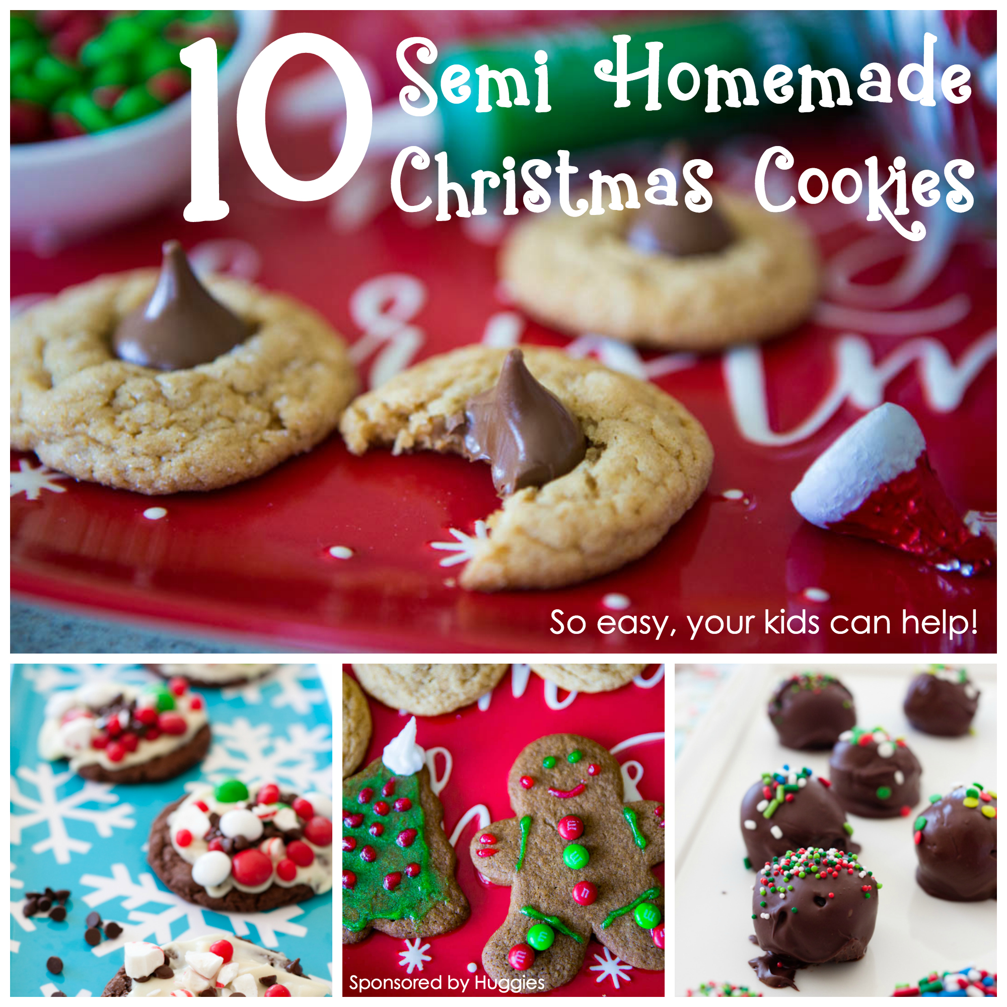10 semi homemade Christmas cookies for kids that are easy to bake.