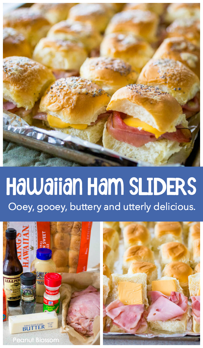 Buttery delicious Hawaiian roll ham and cheese sliders are the perfect party food for feeding a large crowd. You can make a big pan of them in just minutes and serve them hot.