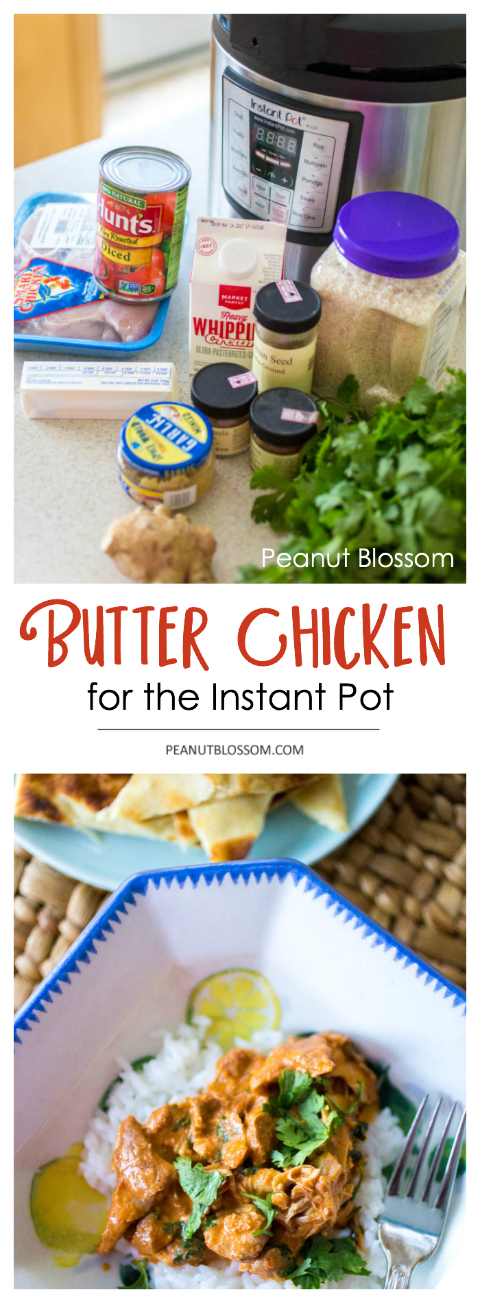 Instant Pot Butter Chicken recipe: Great introduction to Indian food for kids but easy enough for a weeknight. All the fresh ingredients are laid out on the counter for easy meal prep.