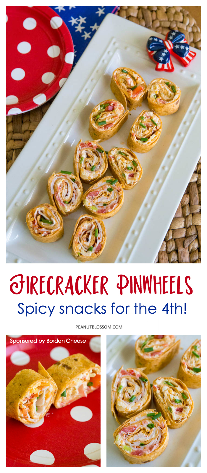 Spicy firecracker pinwheel recipe for summer patriotic parties