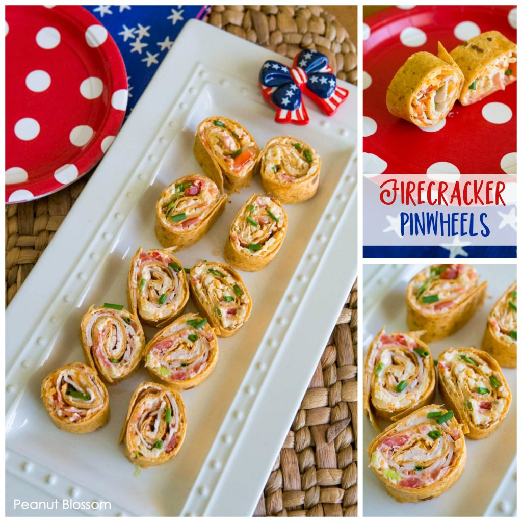 Spicy firecracker cream cheese pinwheel recipe for summer patriotic parties
