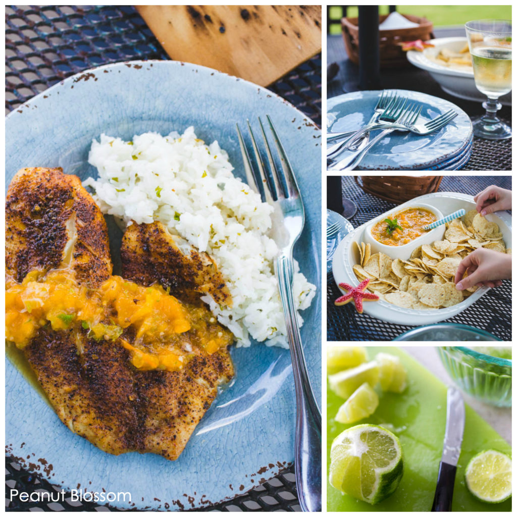 Grilled fish with mojito salsa