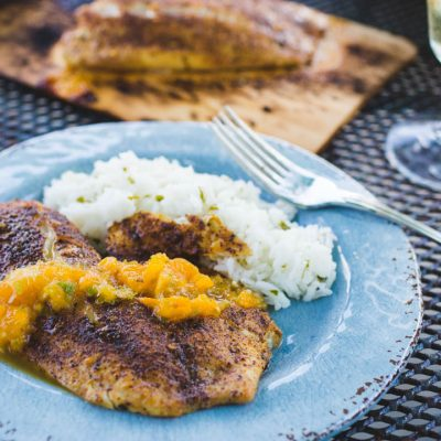 Spicy grilled fish with tangy and sweet mojito salsa
