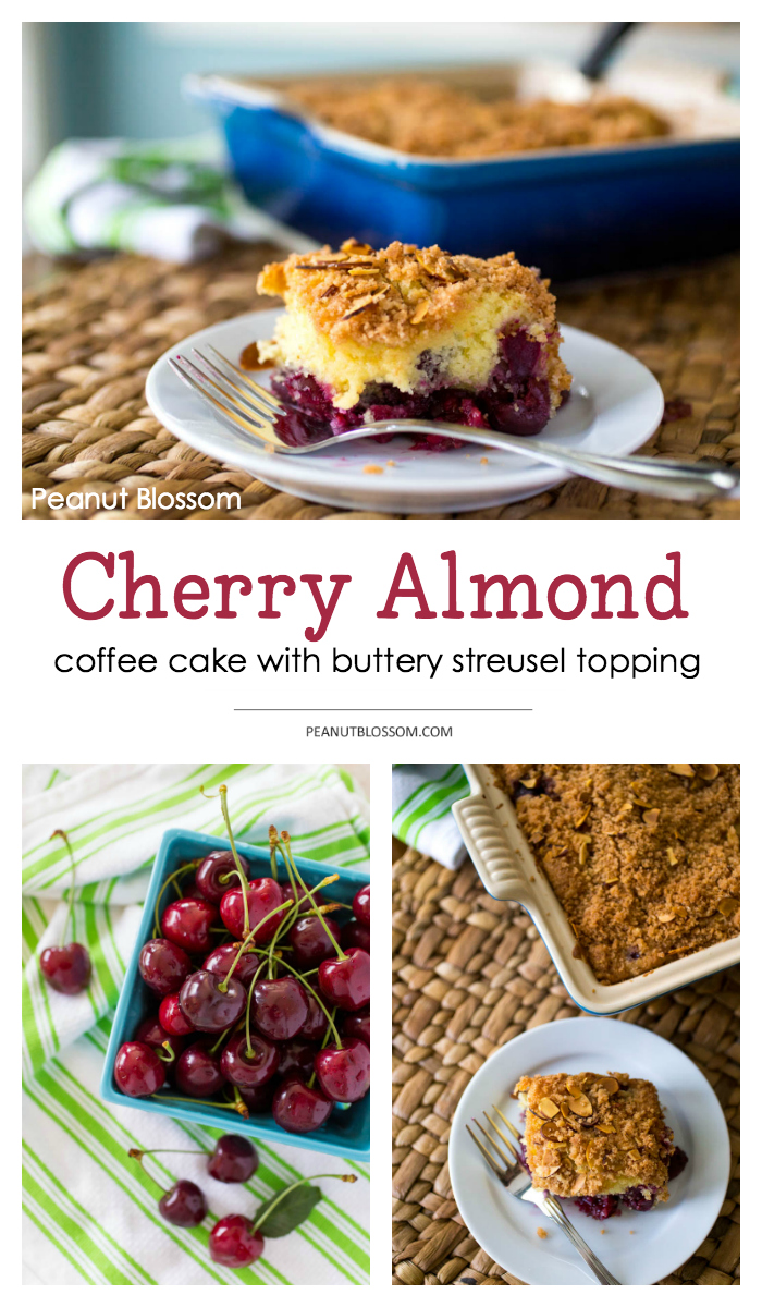 This amazing cinnamon streusel coffee cake has a fun cherry almond twist! Use fresh or frozen cherries and layer them underneath a buttery delicious cinnamon streusel topping. YUM.