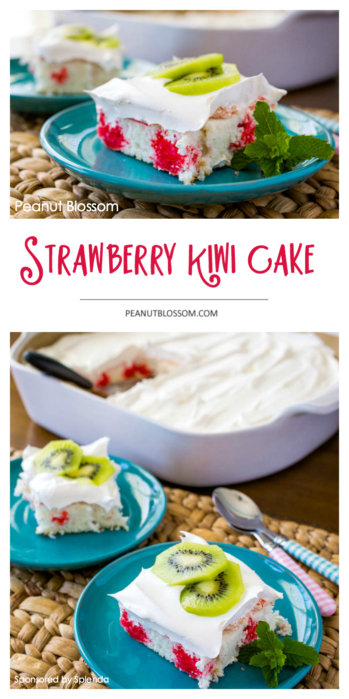 Cool and refreshing kiwi strawberry poke cake is a perfect easy summer dessert.