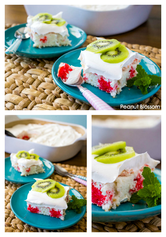 A super easy kiwi strawberry poke cake is the perfect summer dessert for your next party.