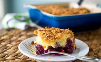 Cherry almond coffee cake with cinnamon streusel topping