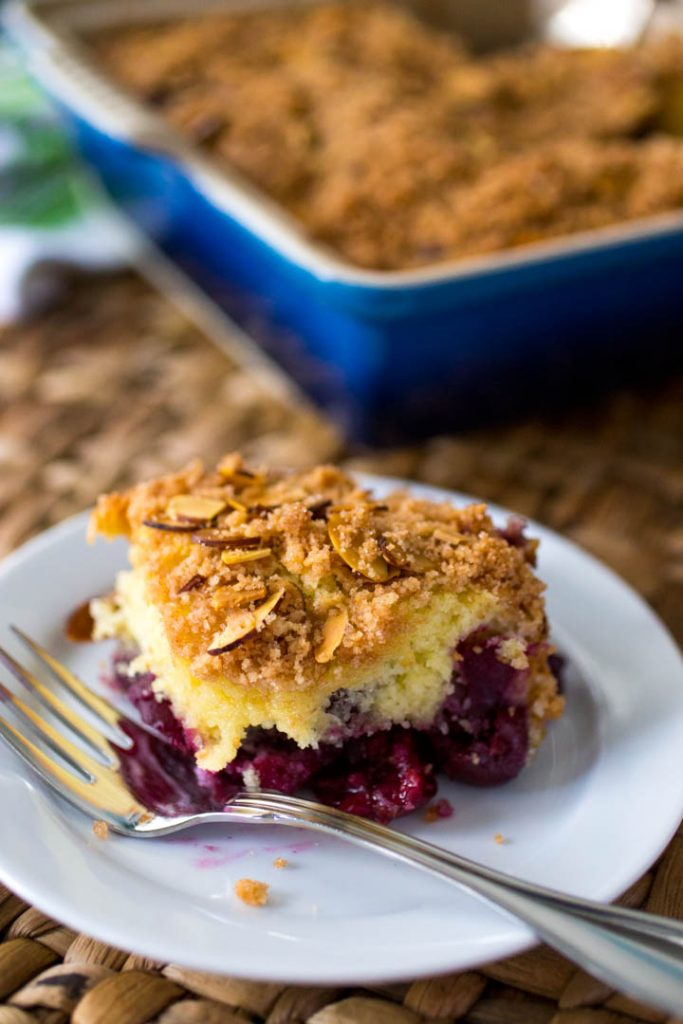 This cherry almond cinnamon streusel coffee cake has a buttery topping that is To Die For! Such an easy way to use up fresh cherries from the farmer's market.