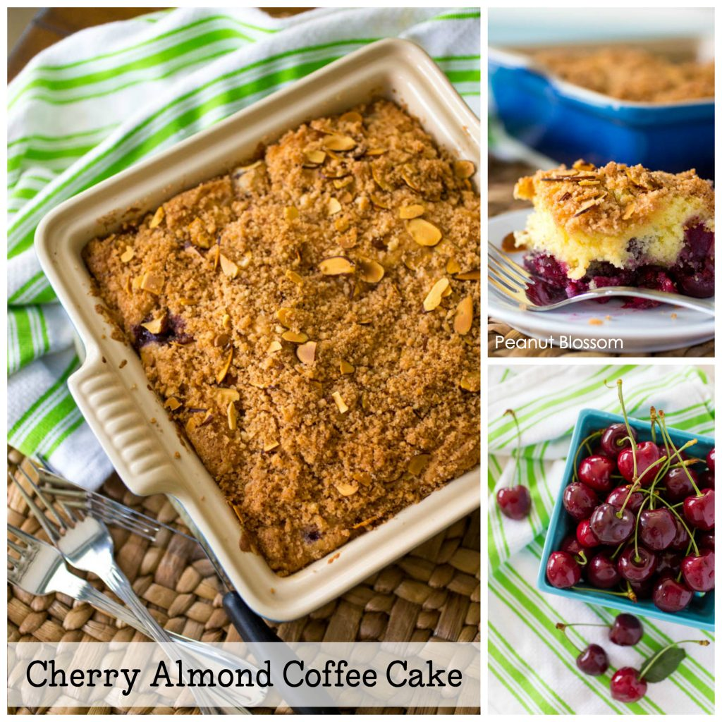 The perfect way to use up a big batch of cherries from the farmer's market this summer! This cherry almond cinnamon streusel coffee cake is so easy to make. YUM.