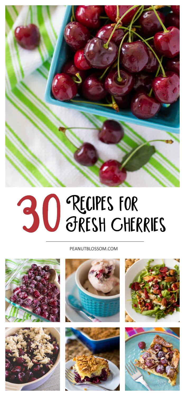 30 fresh cherry recipes that your whole family will love! From sweet desserts to savory dinners, all the cherry recipes you need are here.