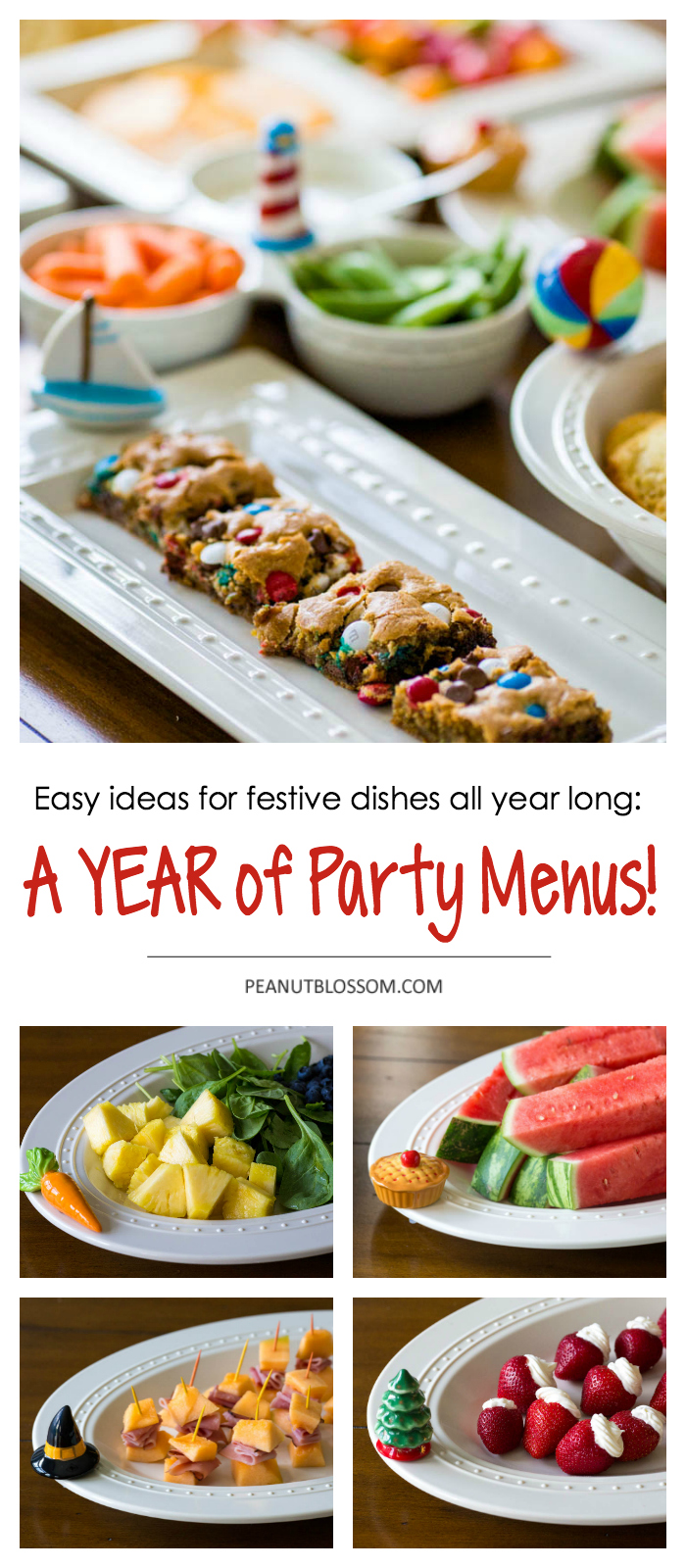 A whole YEAR of party menu ideas! These simple party recipes are perfect for seasonal entertaining and take just minutes to pull together.