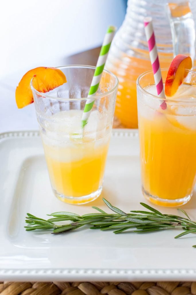 How to garnish a rosemary infused peach lemonade recipe for summer entertaining