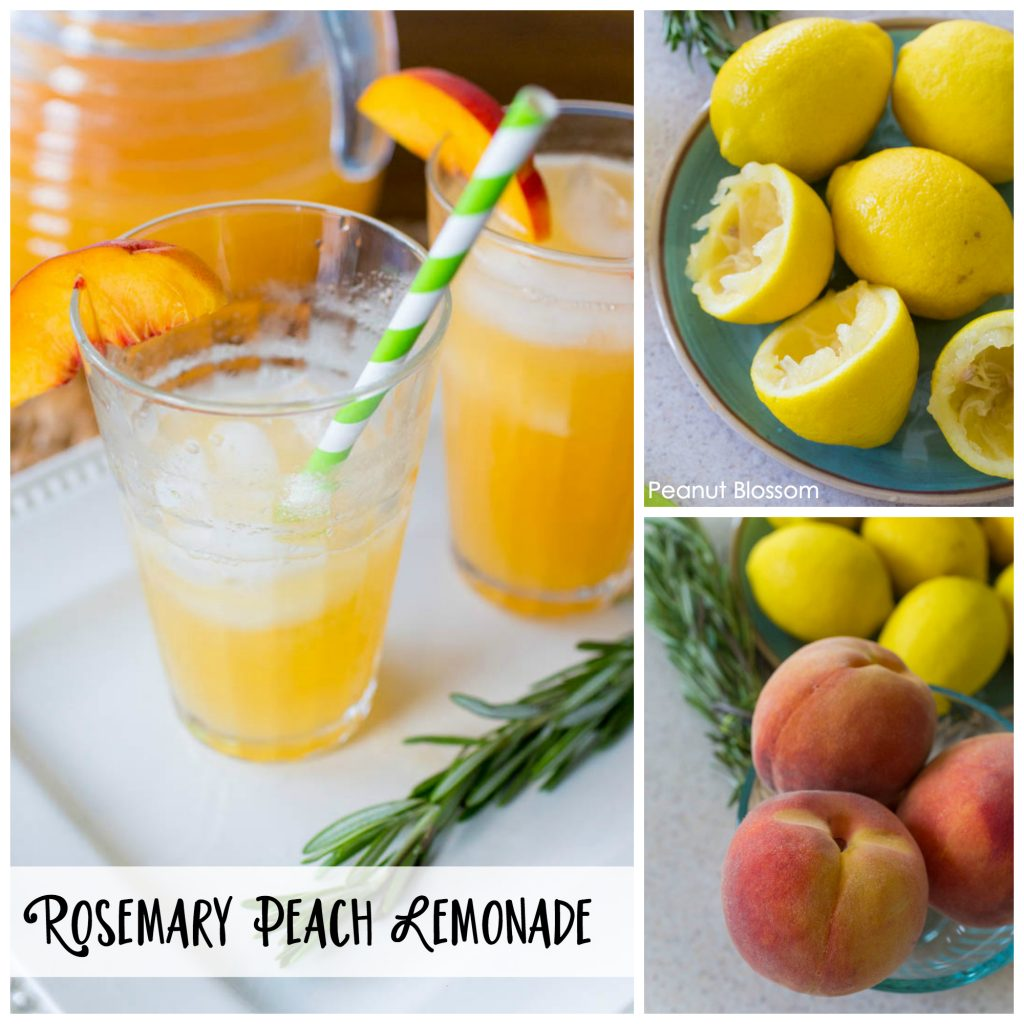 An easy rosemary infused peach lemonade recipe for summer entertaining. Your guests will love this as a refreshing drink or the base of a delicious cocktail.