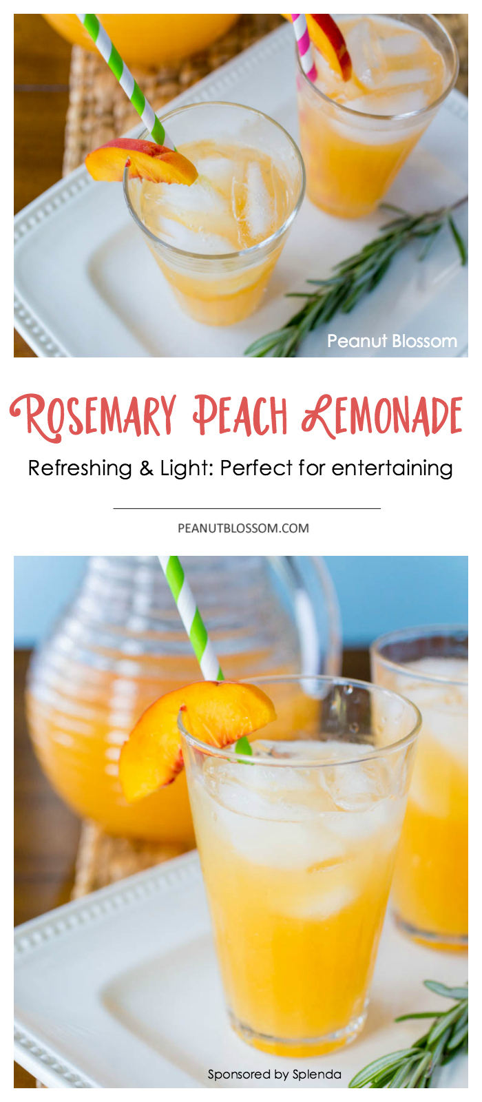 This refreshing and easy rosemary infused peach lemonade recipe is perfect for summer entertaining. Your guests will love it as a cool drink or the base of a delicious cocktail!