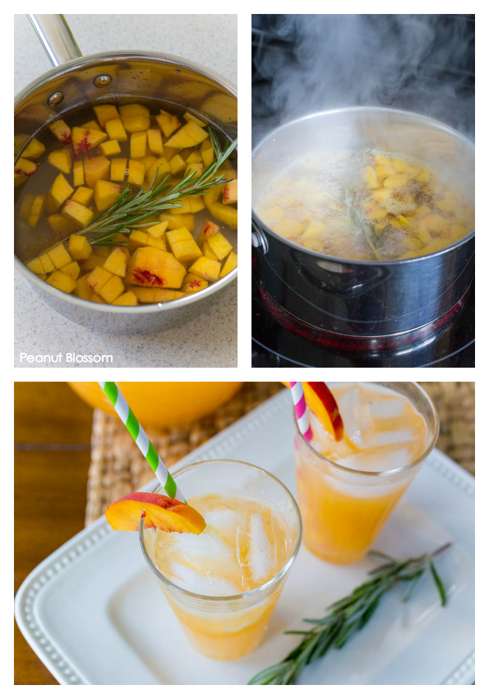 Rosemary infused peach lemonade recipe for summer entertaining