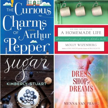 A photo collage of festive book club books that aren't christmasy.