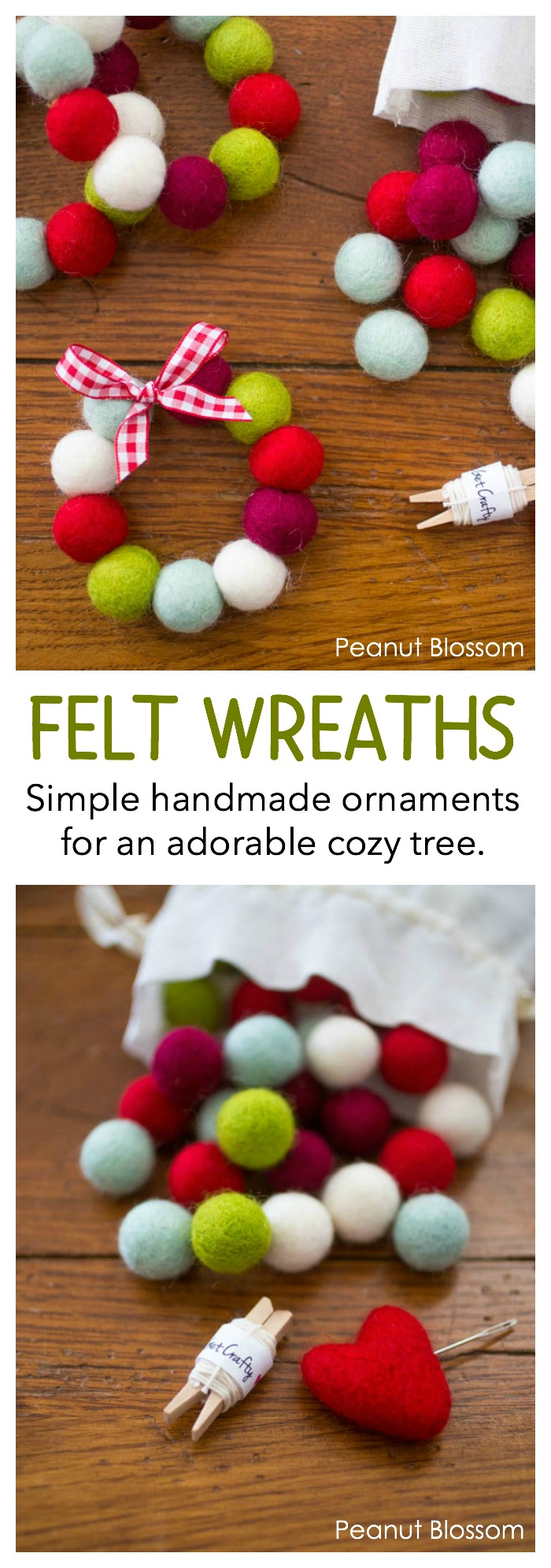 Warm and cozy felt ball wreath ornaments for a country Christmas look