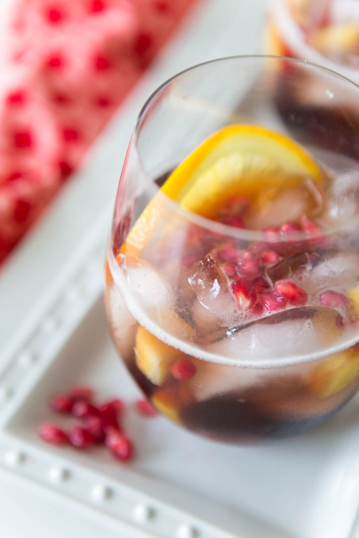 pomegranate punch with sparkling Prosecco