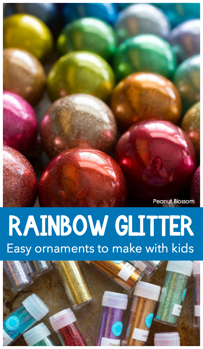 How to make rainbow glitter ornaments with your kids: Super easy Christmas crafting with sparkly fun.