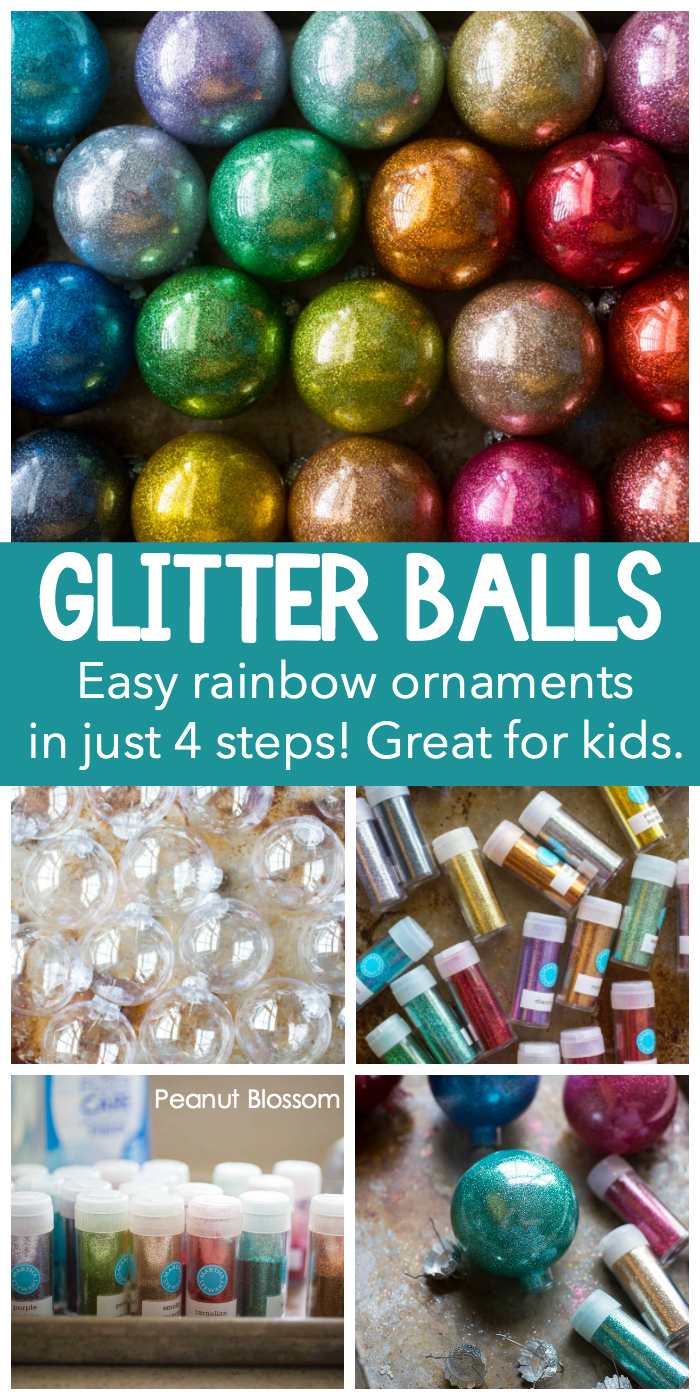 How to make rainbow glitter ornaments with kids. Just 4 steps to glittery fun.