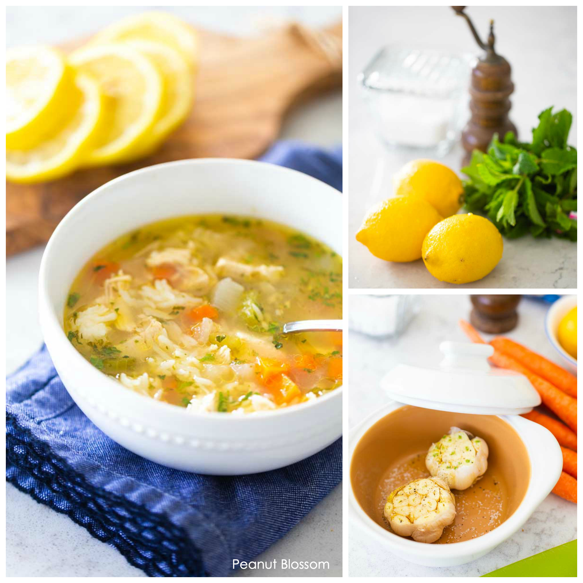Delicious and healthy homemade chicken soup for cold and flu season with roasted garlic and fresh lemons.