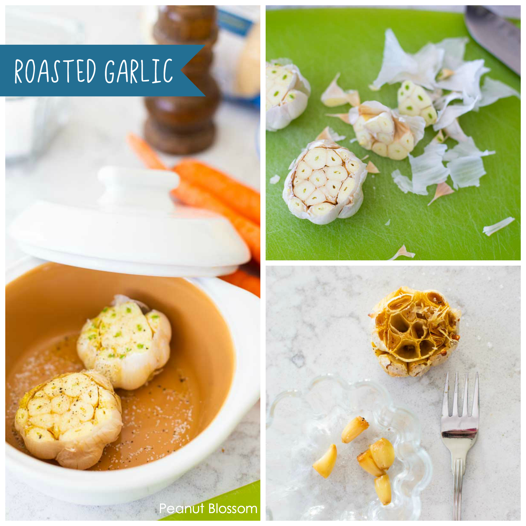 How to make roasted garlic for chicken soup: Cut the head off the garlic, drizzle with olive oil, bake at 375 degrees until toasted golden brown. Pluck the cloves out with a fork and smash.