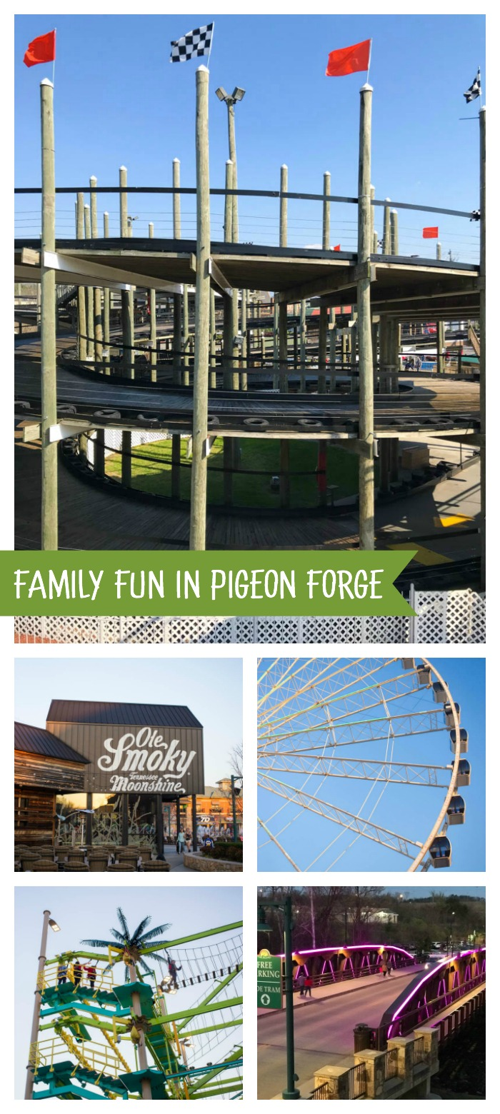 Things to do in Pigeon Forge TN with families: go-karting, Ferris wheel, rope course, and fun at The Island