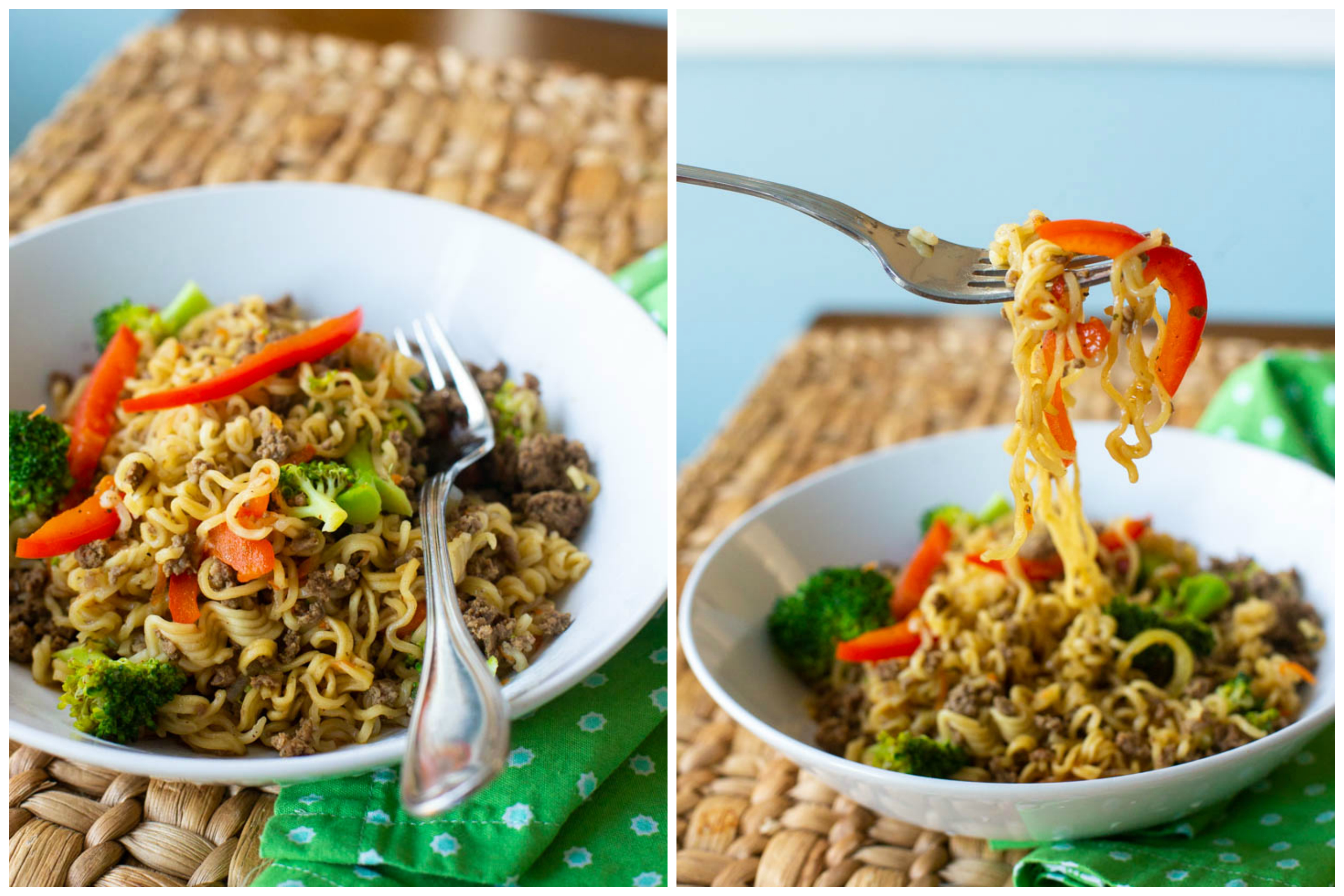 Easy beef stir fry with noodles that kids want to gobble up