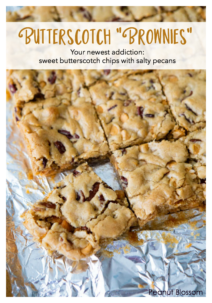 Butterscotch brownies: sweet butterscotch chips and salty pecans in a totally addictive treat.
