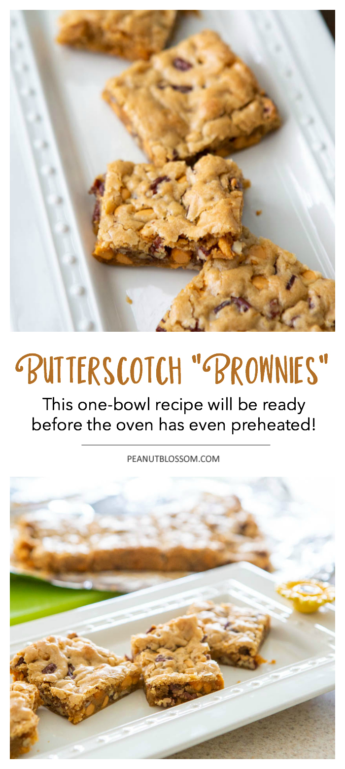 Butterscotch brownies: one-bowl recipe is so easy, the batter will be done before the oven has preheated!