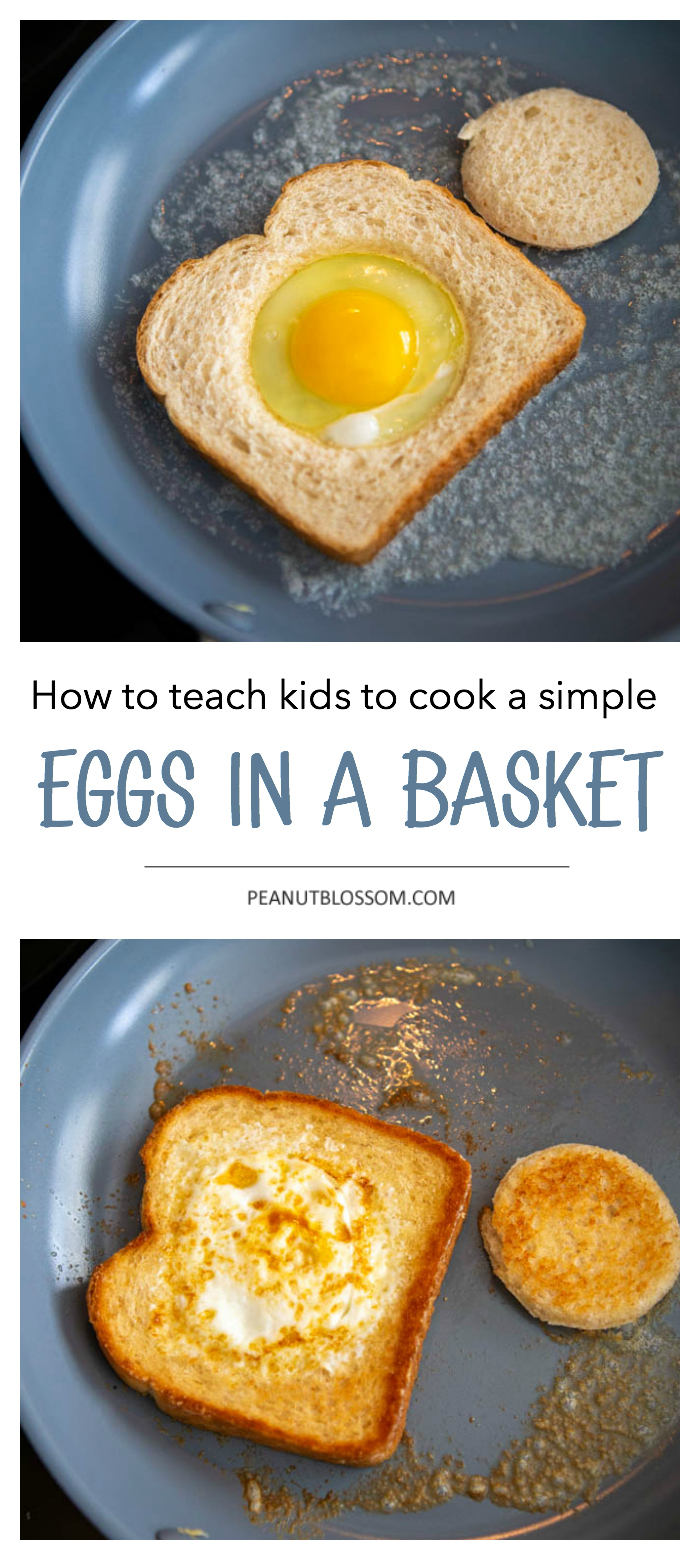 How to teach kids to cook a simple eggs in a basket.